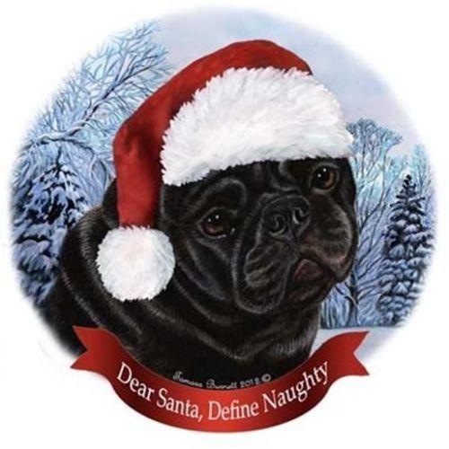 Black Pug Santa Hat Christmas Ornament a Ƥʋɢɢʏ Cняιƨтмαƨ - christmas lawn decorations sale
