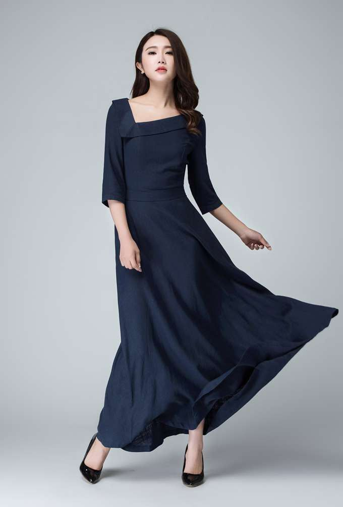 925ab38329 Navy blue Linen dress maxi dress prom dress bridesmaid dress (1453-1) by