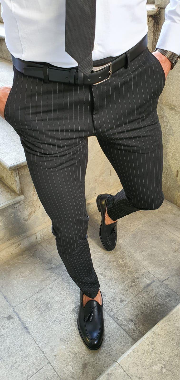 Buy Black Slim Fit Pinstripe Pants By Gentwith With Free Shipping Slim Fit Pants Men Black Pants Men Slim Fit Formal Pants [ 1600 x 757 Pixel ]