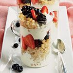 Greek Yogurt Parfaits Recipe | MyRecipes.com  I would use wheat berries or granola...maybe even rough cut oatmeal or rice krispies