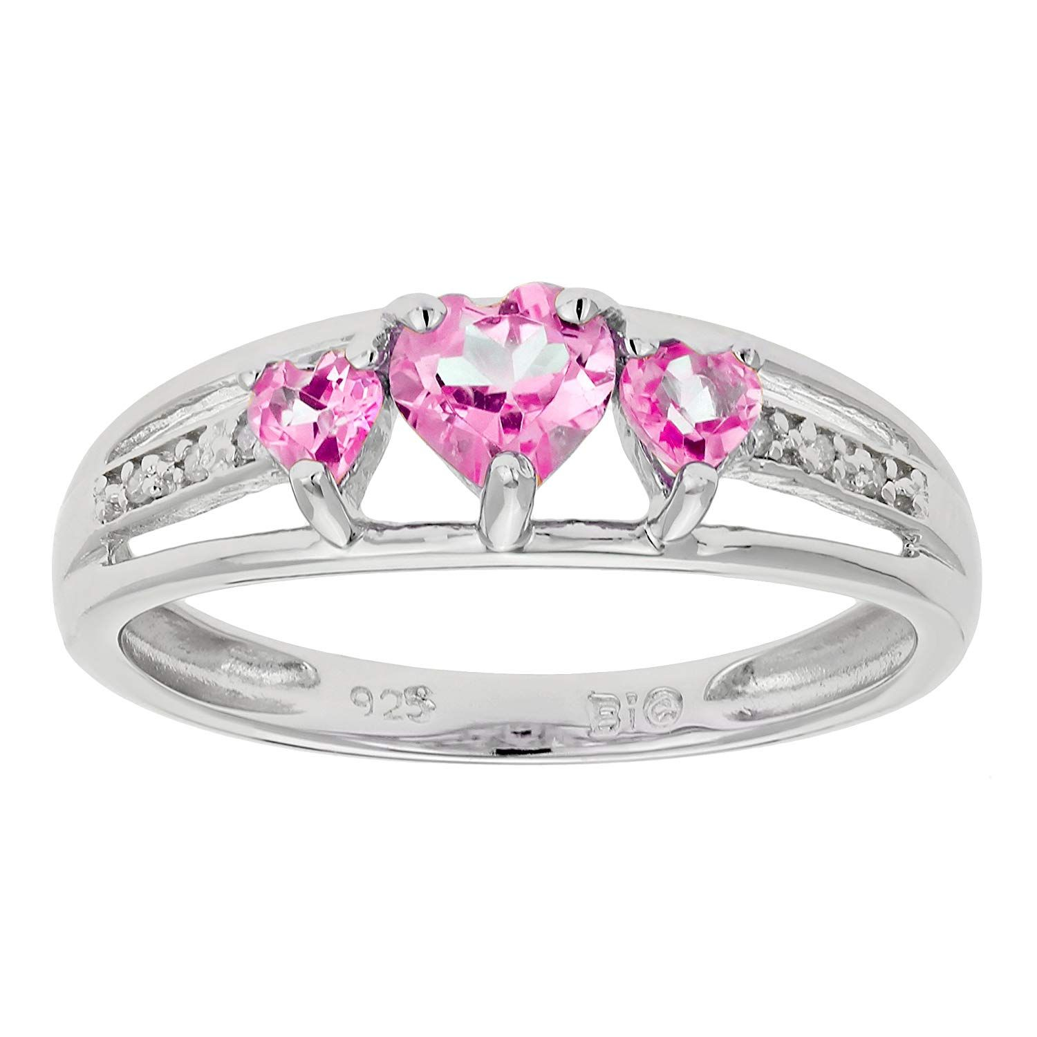 90 Ct Triple Heart Pink Sapphire And 018 Cttw Diamond 10k White Gold Ring We Do Hope You Like The White Gold Rings 925 Sterling Silver Ring Pink Sapphire