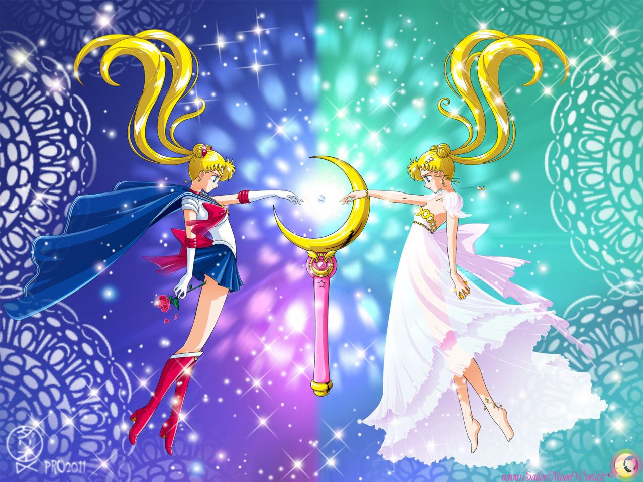 """""""Sailor Moon"""" fan art Sailor Moon and Princess Serenity"""