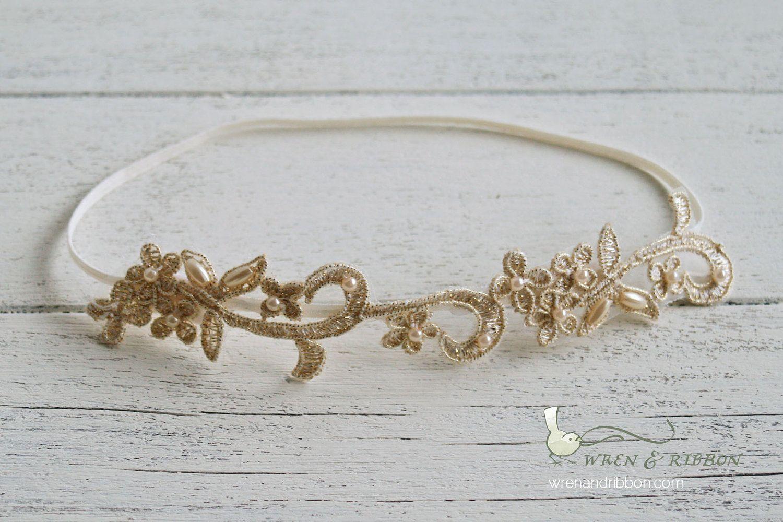 Gold pearl beaded halo headband perla newborn infant baby child