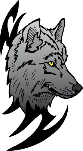 """4"""" wide Grey Wolf. Printed vinyl decal sticker for any smooth surface such as windows bumpers laptops or any smooth surface. Beach Graphic Pros,http://www.amazon.com/dp/B00BPIUO2K/ref=cm_sw_r_pi_dp_3hKmtb01TT0W90QE"""
