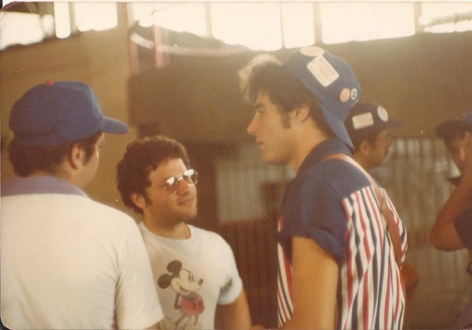 """Ron """"Rich"""" Plotkin (in the Mickey Mouse shirt) & """"never get rich""""  Ron Pollakov, with Ray Ullman on the left & Michael Ginsburg behind. July, 1978."""