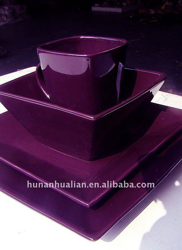 Source Noble Purple Stock Square Ceramic Dinnerware Set On