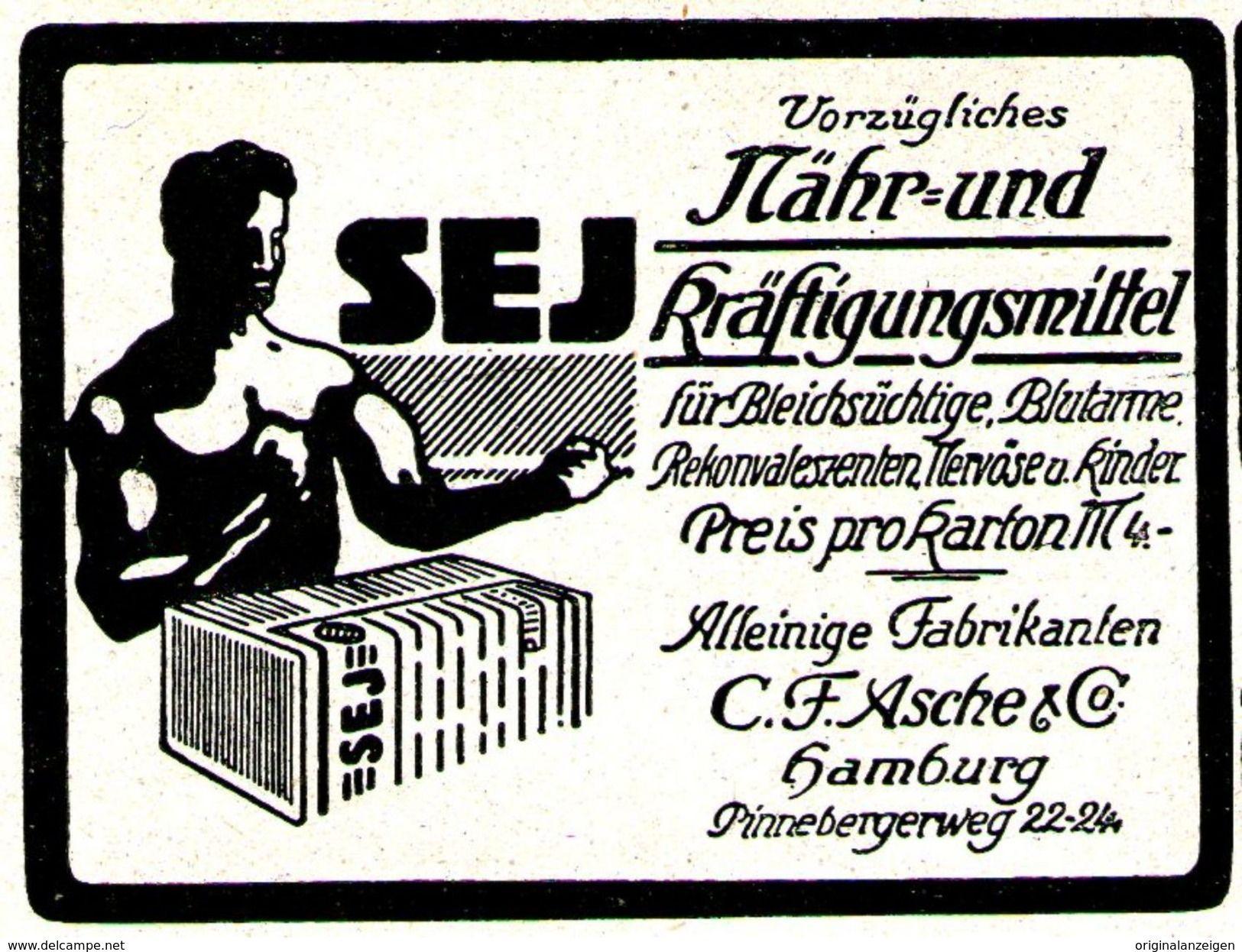 Original-Werbung/ Anzeige 1920 - SEJ NÄHRMITTEL / ASCHE - HAMBURG - Ca. 65 X 50 Mm - Werbung