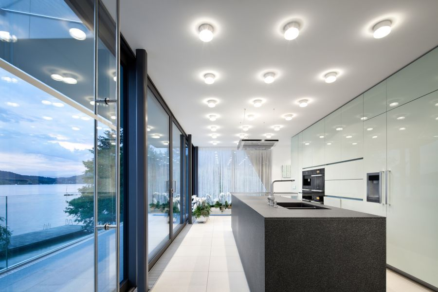 view modern house lights. Elegant Austrian Home Blends Lovely Lake Views With A Minimalist Interior View Modern House Lights -