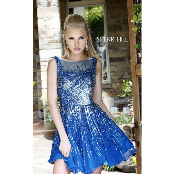 Sherri Hill 8519 Royal Short Sequin Homecoming Dress ($199) via Polyvore  featuring dresses,