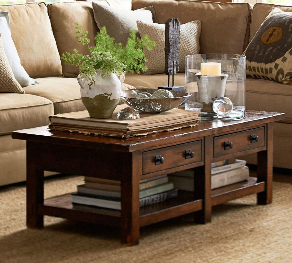 Benchwright coffee table rustic mahogany stain pottery barn au ideas for the house Coffee table decorating ideas