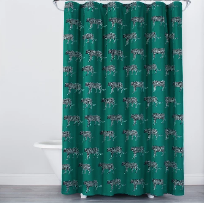 Panther Print Shower Curtain Green