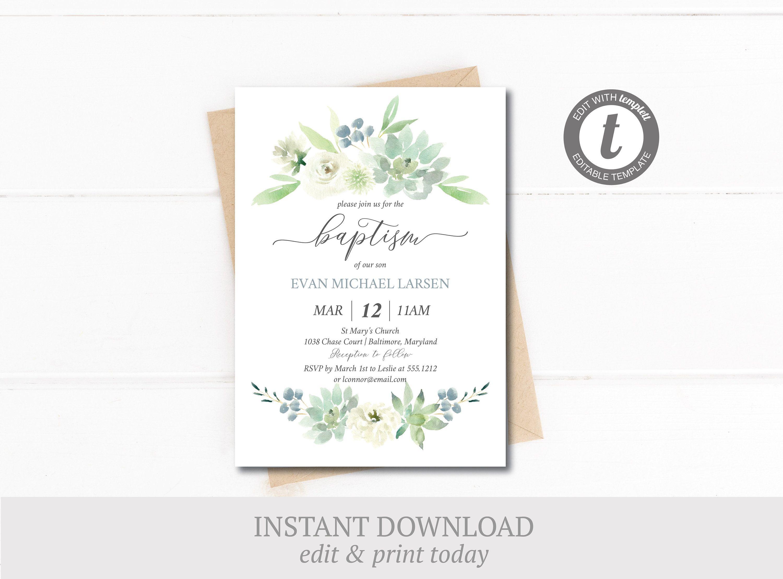 Green baptism invitation instant download editable gender
