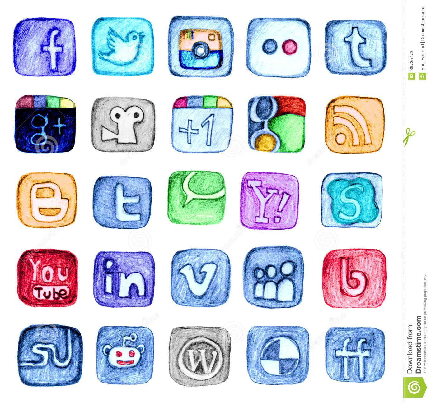 Hand Drawn Social Media Icon Set Editorial Stock Photo