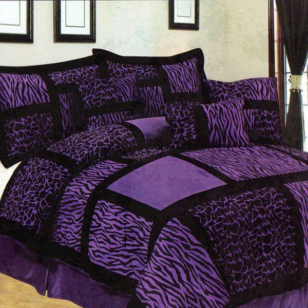 Purple And Zebra Bed Sets Piece Purple And Black Zebra Giraffe