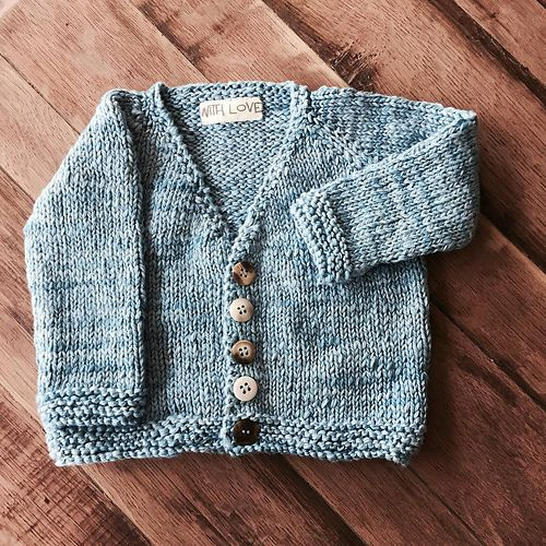 Cute little baby cardigan sweater - very easy to knit ...