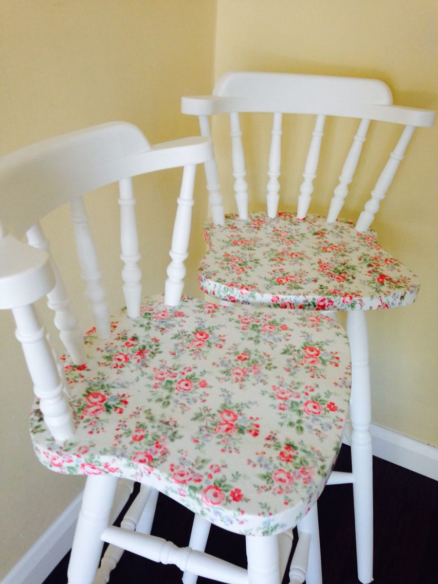 Twin Decoupage Cath Kidston Bar Stools from Lovechere x