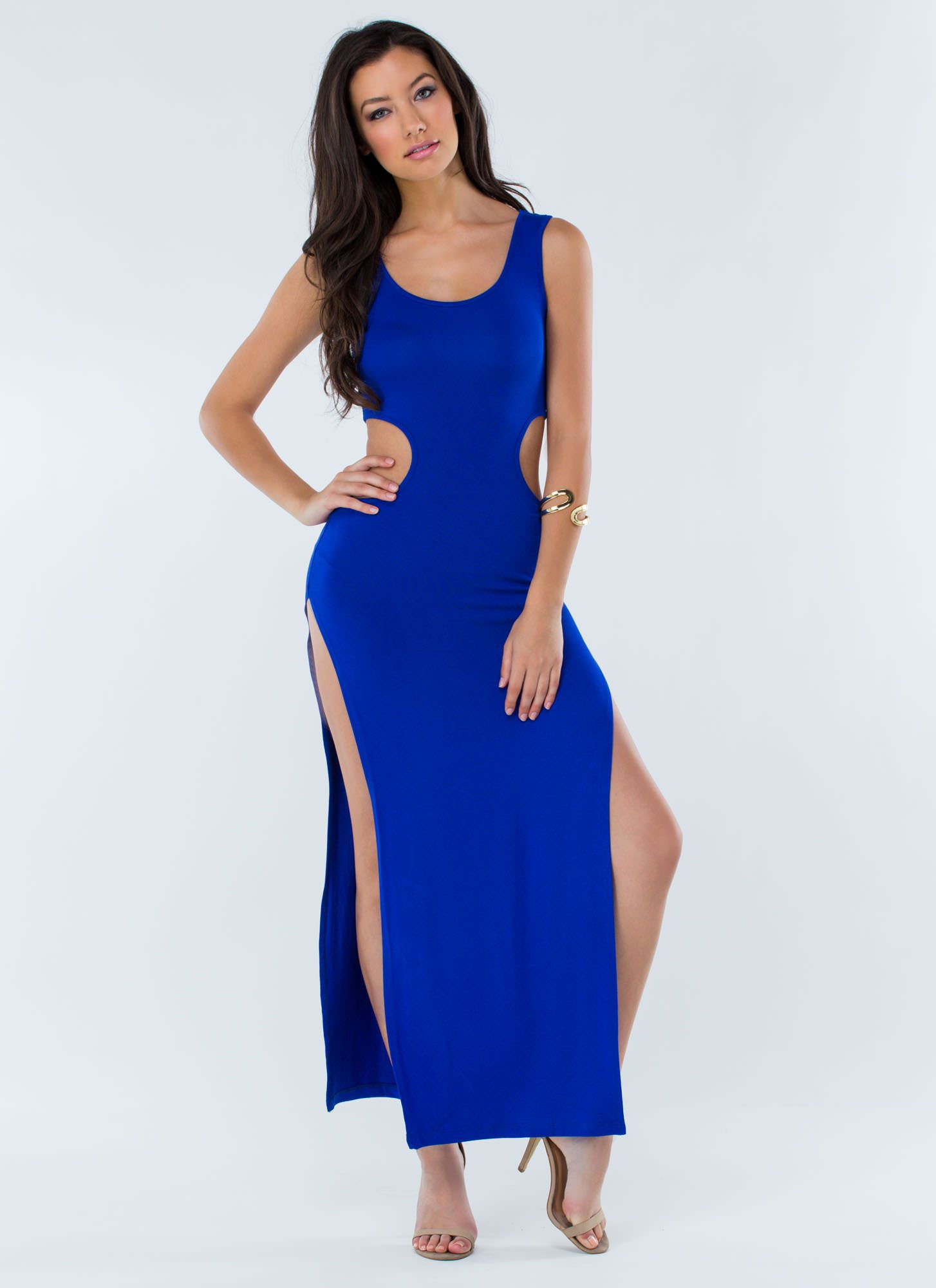 a92ad8185 It's A Cinch Slit Cut-Out Maxi Dress ROYAL   My Style   Dresses ...