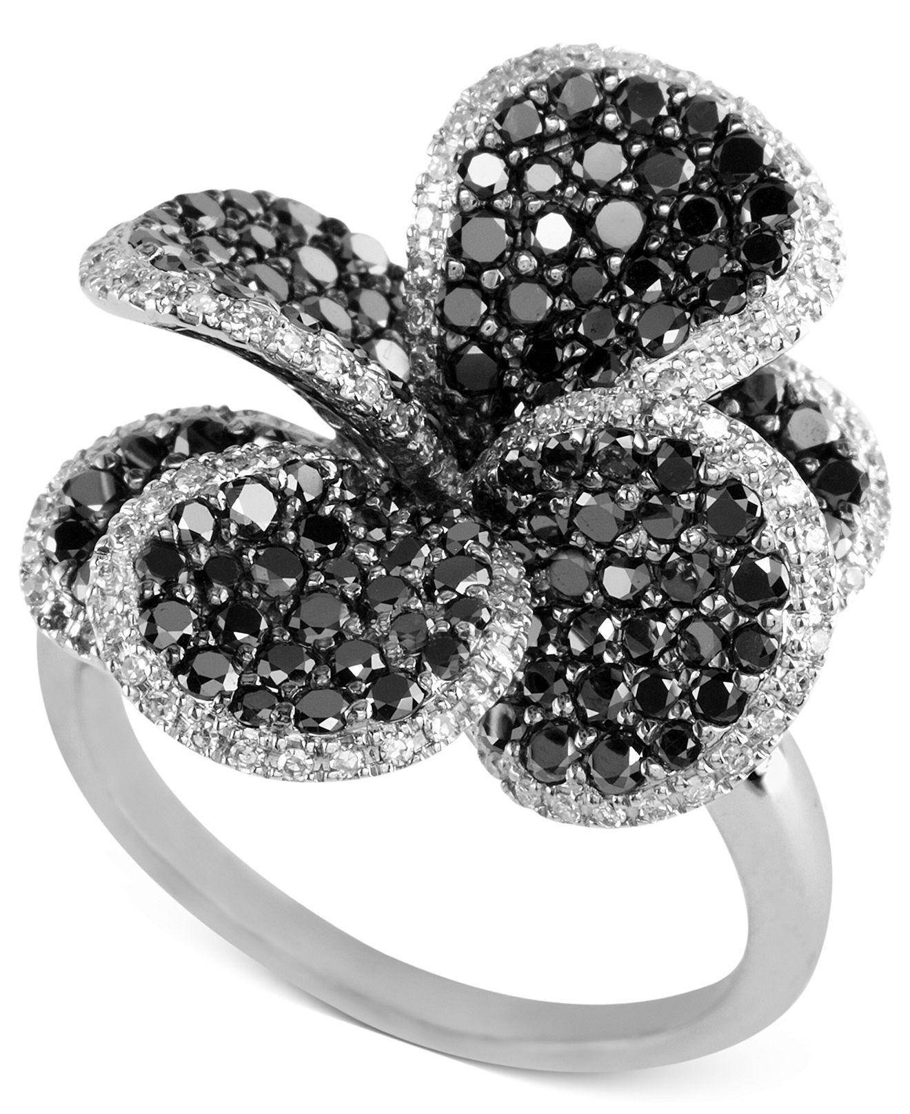Black Flower Bow With Diamond: EFFY 14k White Gold Ring, Black And White Diamond Flower