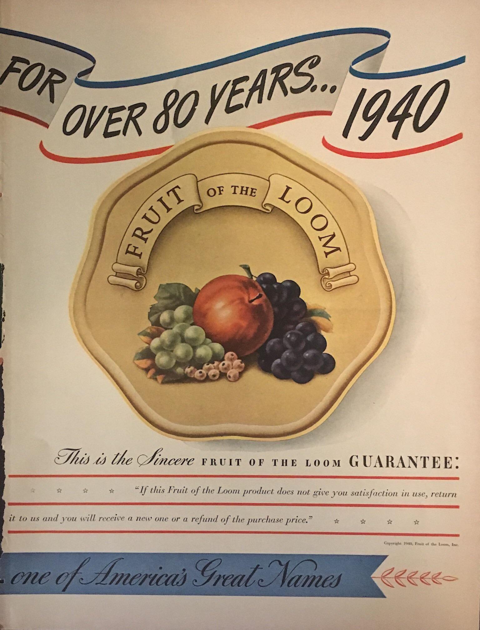 Vintage 1940 Life Magazine Fruit of the Loom Print Ad
