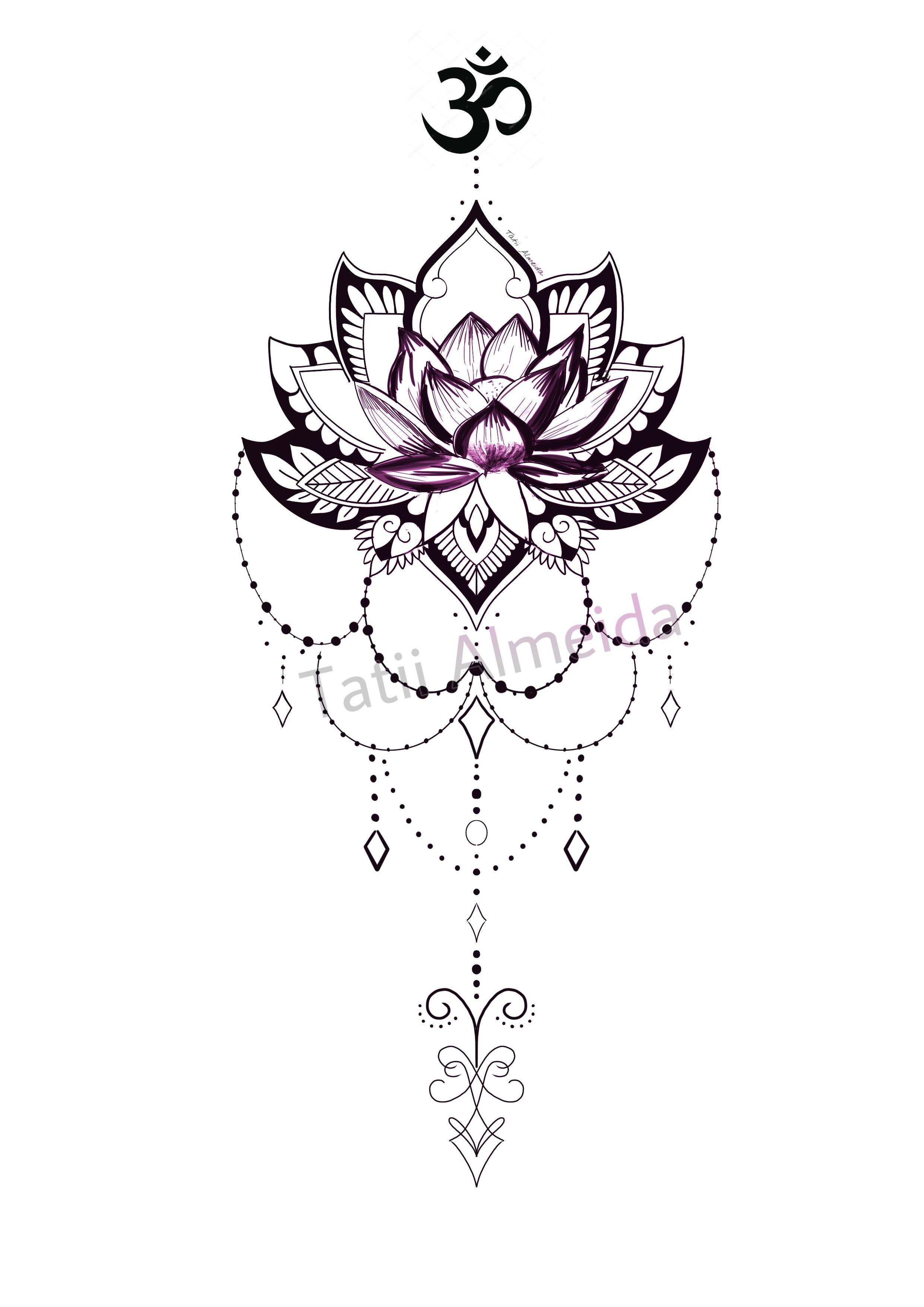 Diseno Flor De Loto Om Con Colgantes Tatuaje De Mandala De Loto Diseno De Tatuaje De Loto Diseno De Tatuaje Mandala