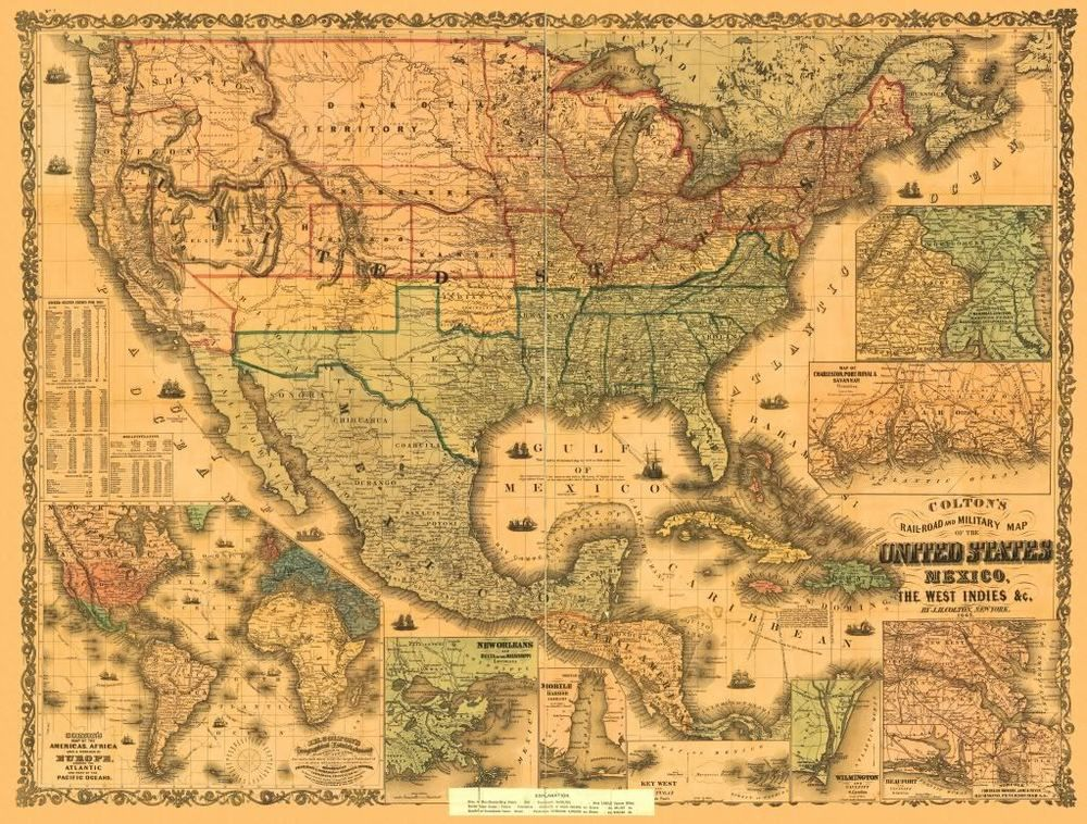 24x36 Vintage Reproduction Railroad Military Map America Mexico 1862 Escuela