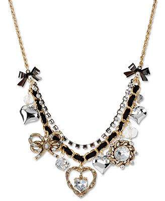 Betsey Johnson Necklace, Gold Tone Rope Heart Multi Charm Frontal Necklace - Fashion Jewelry - Jewelry & Watches - Macy's