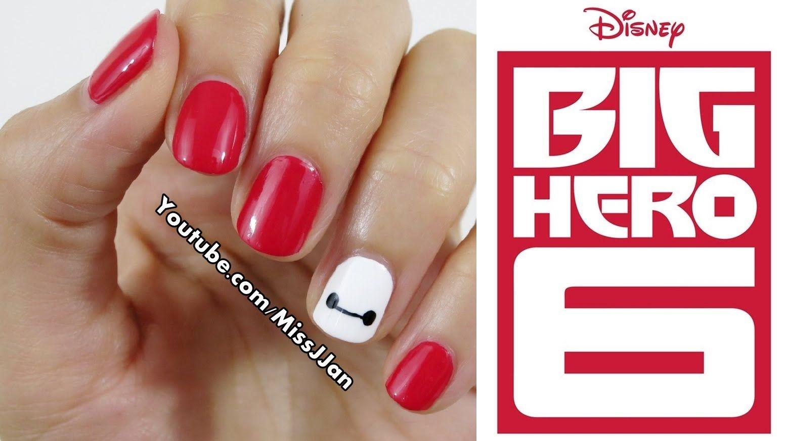 Very Easy Disney Big Hero 6 Inspired Nail Art Short Nails