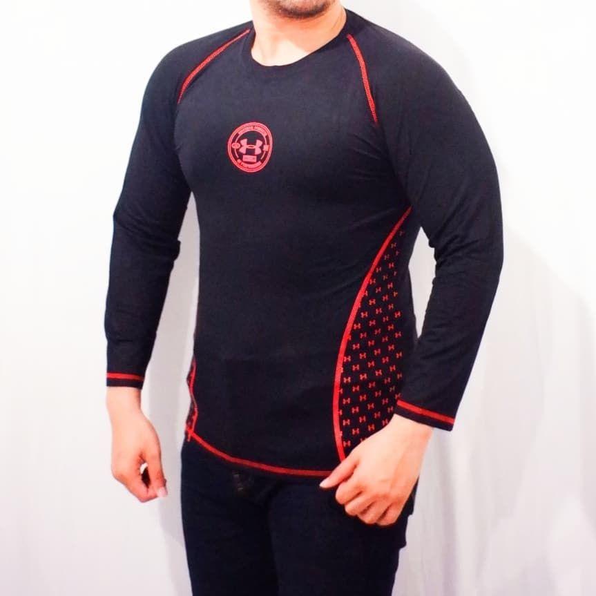 Kaos tangan panjang spandex ua Keren, bahan nyaman digunakan,model kekinian dan simple... Ukuran : M...