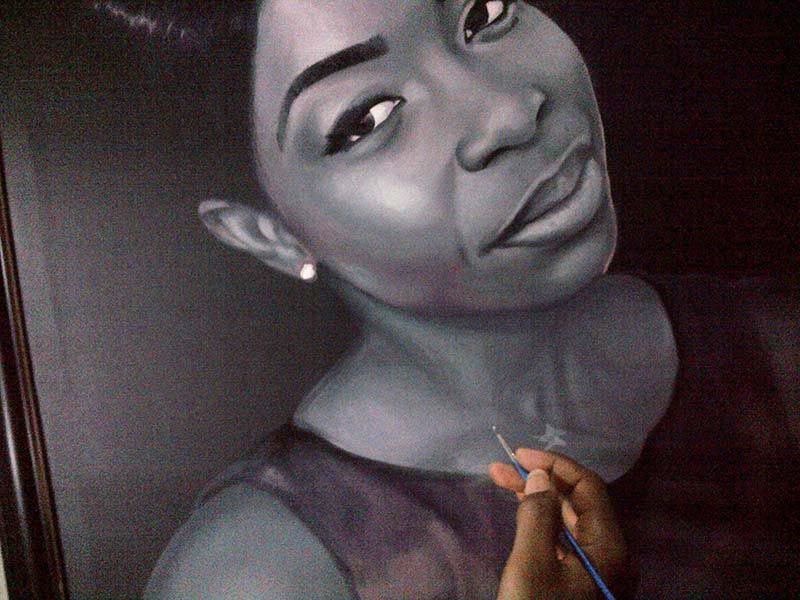 Black and white portrait painting by ayodeji ayeola 1 portrait painting in black and white