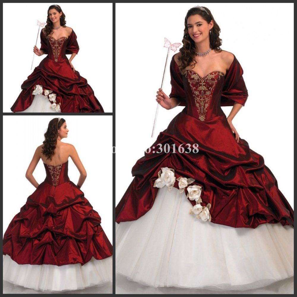 Q280 Royal Princess Red and White Embriodery Ball Gown Prom ...