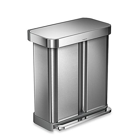 Simplehuman Dual Compartment Rectangular 58 Liter Step Trash Can Kitchen Trash Cans Simplehuman Kitchen Bin