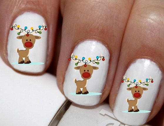 20 Pc Christmas Deer With Christmas Lights Winter Season Nail Art
