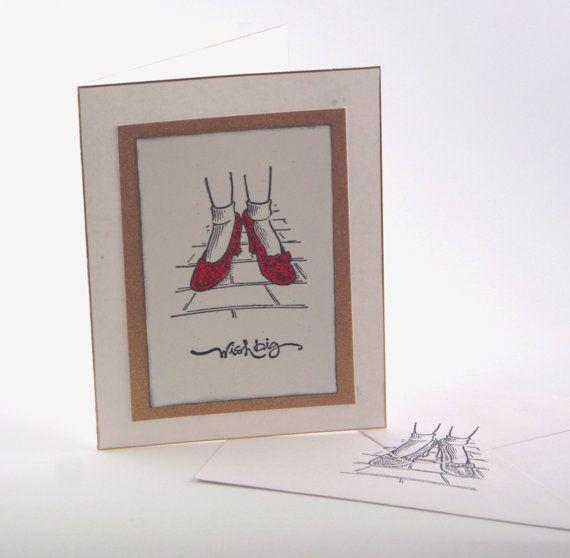 Wizard Of Oz Birthday Card Wish Big Red Ruby Slippers Fun Funky