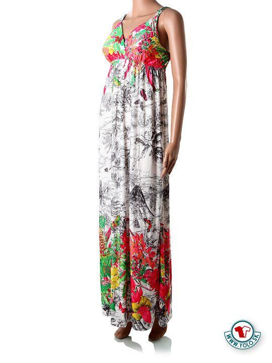 982975d73ed0 Dlhé biele maxi-šaty na ramienka Dlhé letné padavé šaty s potlačou čiernych  a farebných