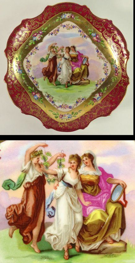 Collection of Three Painted and Gilt Porcelain Plates : Lot 292