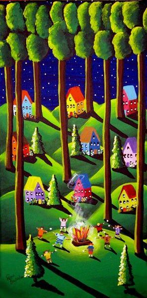Roasting Marshmallows  Summer Folk Art Whimsical Original Painting on Etsy