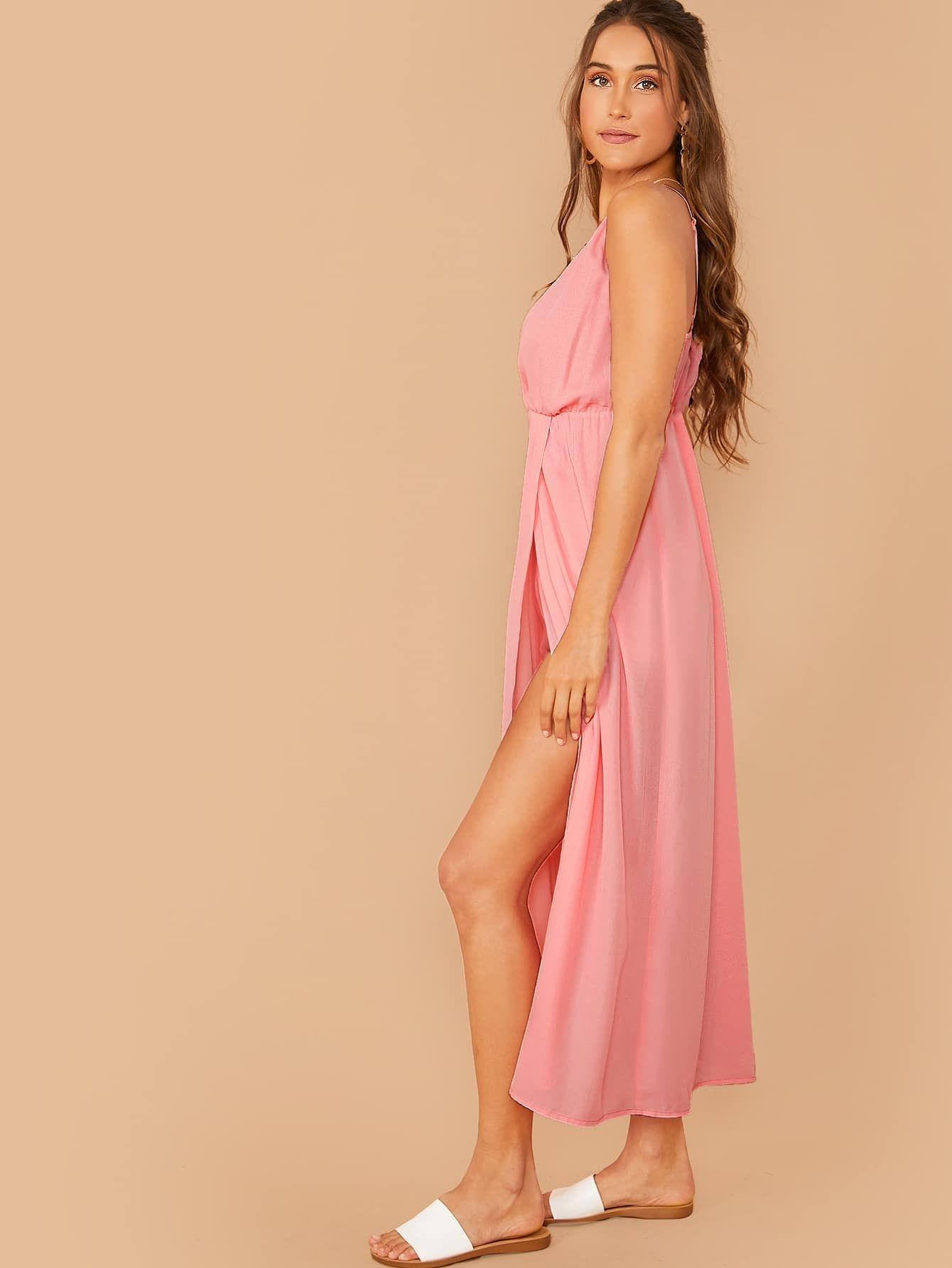 Ad plunging neck wrap slip dress tags boho pink