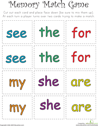 Worksheets: Sight Word Memory Match III | school stuff | Pinterest ...