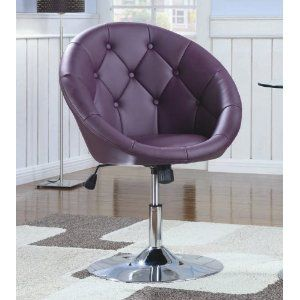 Swivel Chair with Button Tufted Purple Leatherette Seat Chrome Base
