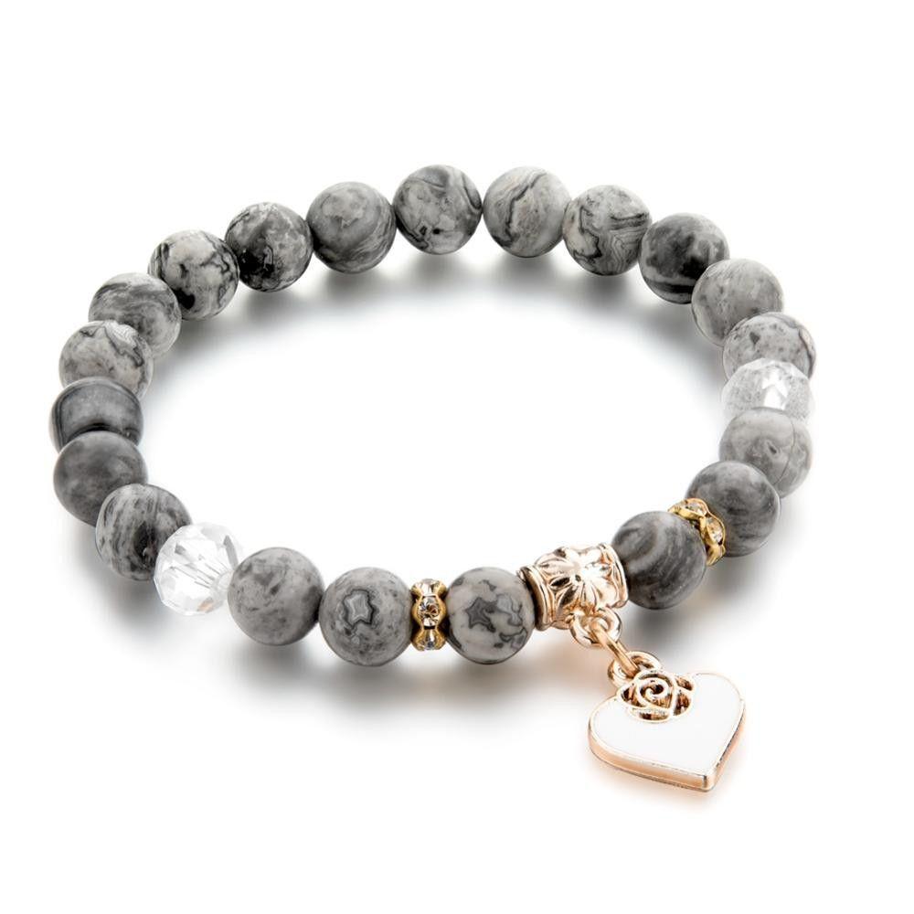 Bijoux Silver Ethnic Love Heart stretch Beaded bracelet And FREE Earrings