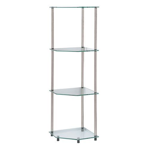 Classic Glass Stainless Steel Four Tier Corner Shelf Glass Corner Shelves Shelves Corner Shelves