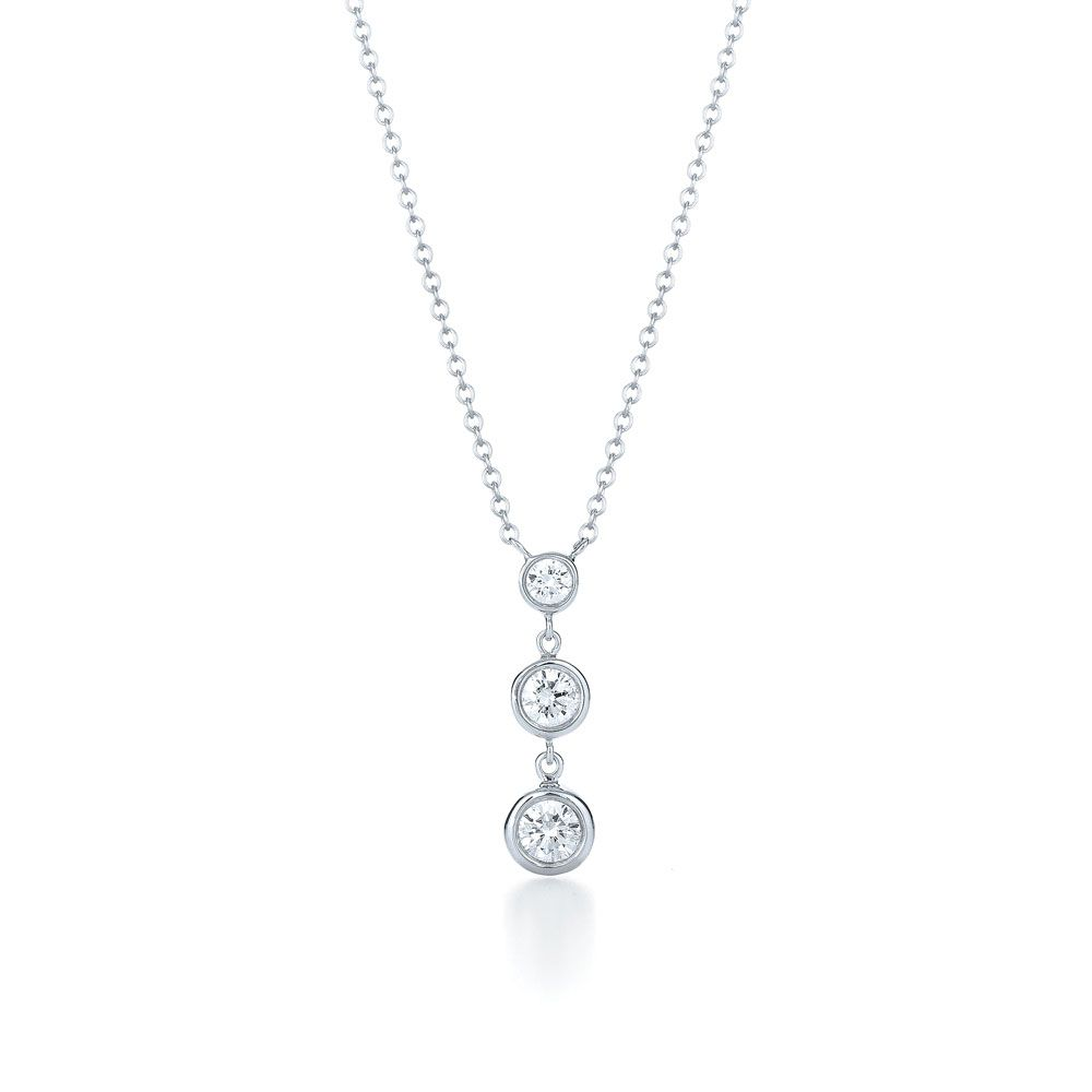 Three stone diamond pendant bezel set three stone drop diamond