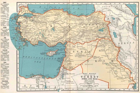 Turkey Syria Iraq Map Vintage 1935 Middle East Map Rand McNally