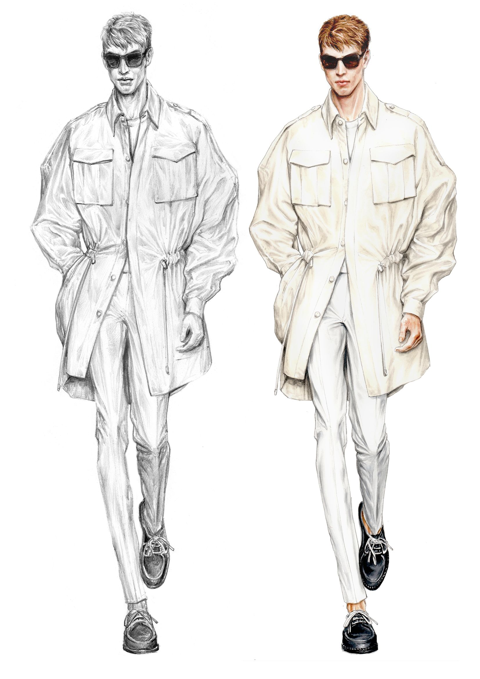 Illustration Fashion sketches for men forecast to wear in on every day in 2019