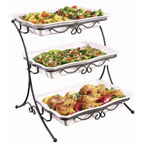 Adjustable 3 Tieres Buffet Server Buffet Server Serving Dishes Buffet Stand