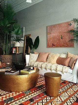 Living room inspo eclectic Aztec style green pink brown