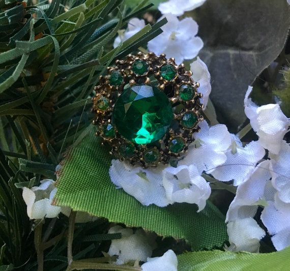Emerald Green Ring 1940's Vintage Brass Filigree Czech West Germany Statement Cocktail