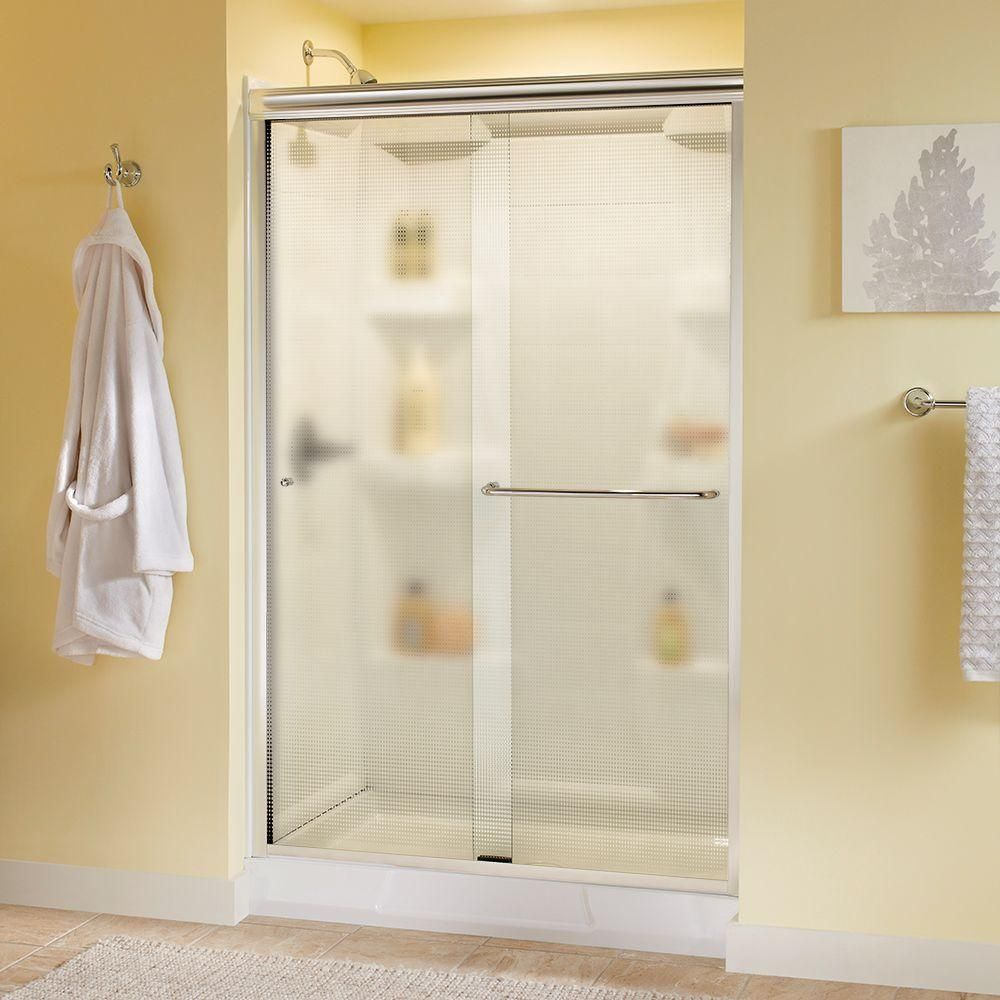 Delta Simplicity 48 In X 70 Semi Frameless Sliding Shower Door Chrome With Droplet Glass
