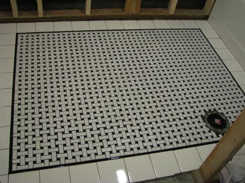 For Shower Pan Small Basketweave Tile With Subway