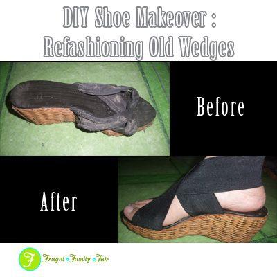 8f9cf1bd4 DIY Shoe Makeover   Refashioning Old Wedges Shoe Refashion